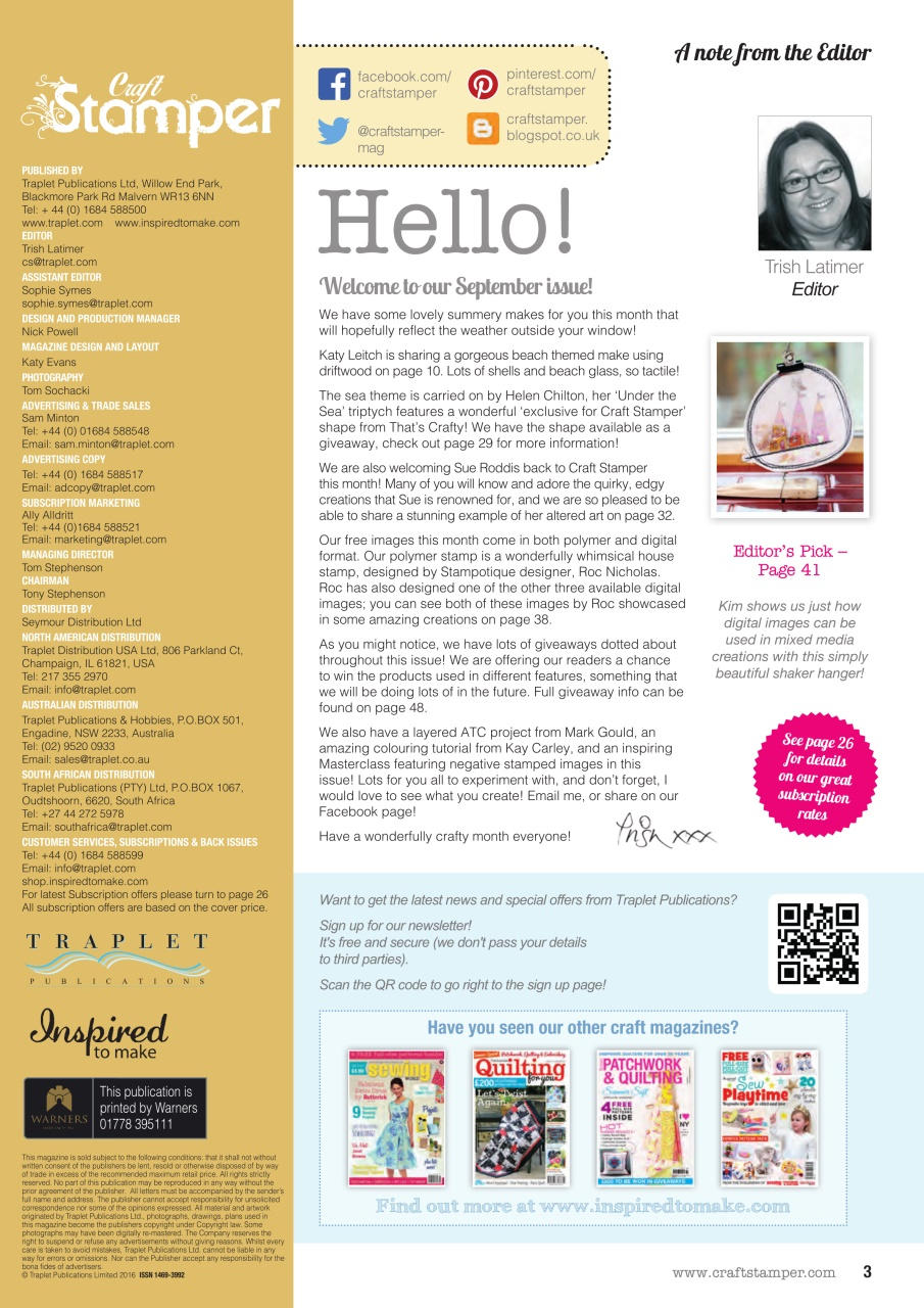 Craft Stamper Magazine September