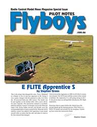 E Flite Apprentice S Flyboys Pilot Notes #2 issue E Flite Apprentice S Flyboys Pilot Notes #2