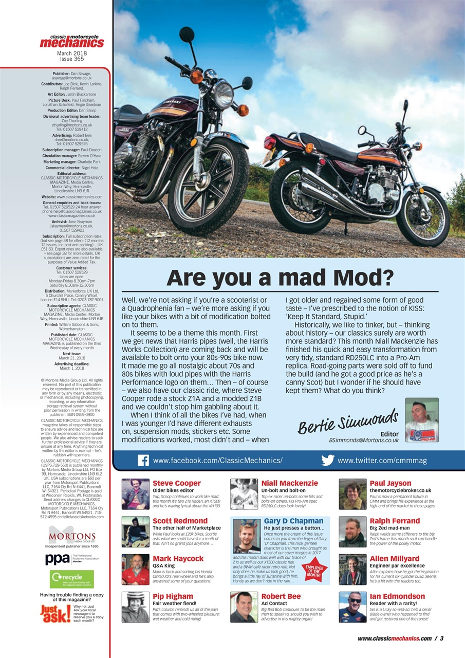 Classic Motorcycle Mechanics Magazine March 2018 Subscriptions Pocketmags