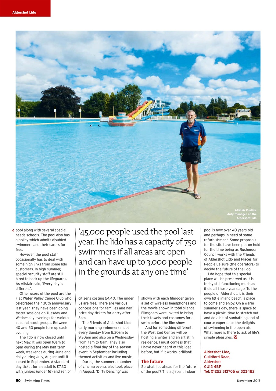 Swimming Times Magazine November 17 Subscriptions