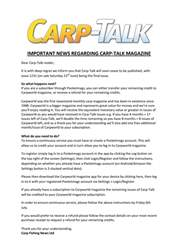 IMPORTANT NEWS REGARDING CARP-TALK MAGAZINE issue IMPORTANT NEWS REGARDING CARP-TALK MAGAZINE
