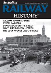 Australian Railway History issue September 2018