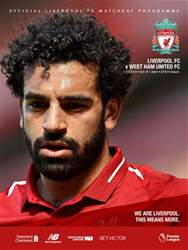 Liverpool FC Programmes issue vs West Ham United 18/19