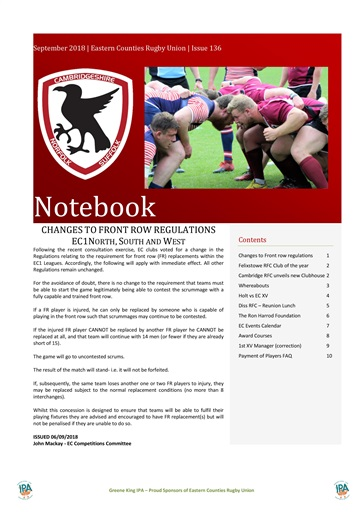 Eastern Counties Rugby Union Preview