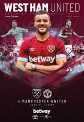 West Ham Utd Official Programmes issue West Ham United Vs Manchester United