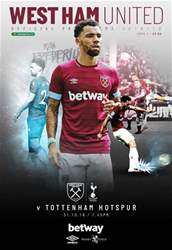 West Ham United vs Tottenham Hotspur - Carabao Cup Round 4 issue West Ham United vs Tottenham Hotspur - Carabao Cup Round 4