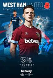 West Ham Utd Official Programmes issue West Ham United vs Burnley
