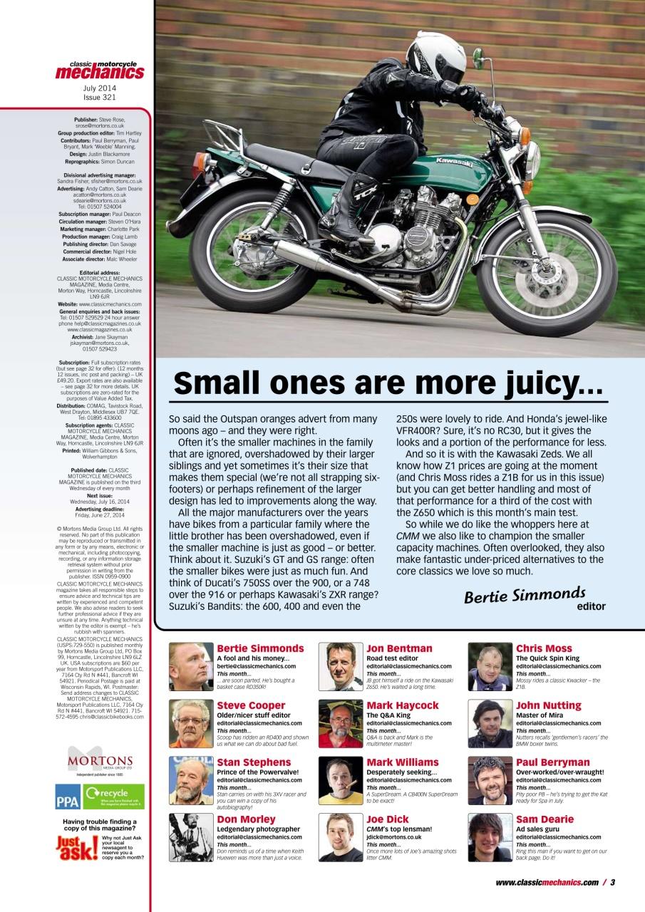 Classic Motorcycle Mechanics Magazine July 2014