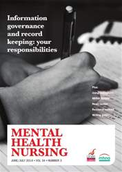 Mental Health Nursing JuneJuly 2014  issue Mental Health Nursing JuneJuly 2014