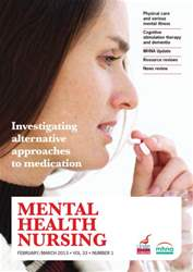 Mental Health Nursing FebruaryMarch 2013 issue Mental Health Nursing FebruaryMarch 2013