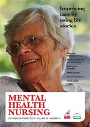 Mental Health Nursing OctoberNovember 2012 issue Mental Health Nursing OctoberNovember 2012