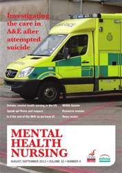 Mental Health Nursing AugustSeptember 2012 issue Mental Health Nursing AugustSeptember 2012